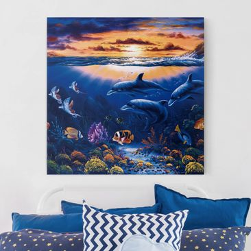 Produktfoto Leinwandbild - Dolphins World - Quadrat 1:1, vergrößerte Ansicht in Wohnambiente, Artikelnummer 206355-XWA