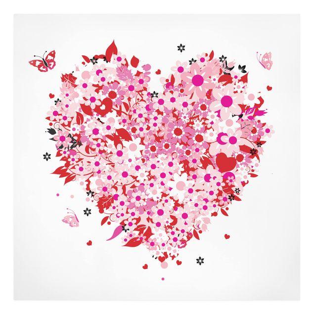 Produktfoto Leinwandbild - Floral Retro Heart - Quadrat 1:1, Frontalansicht, Artikelnummer 206415-FF