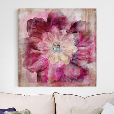 Product picture Canvas Art - Grunge Flower - Square...