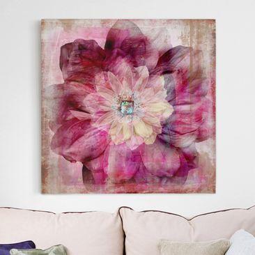Produktfoto Leinwandbild - Grunge Flower - Quadrat 1:1, vergrößerte Ansicht in Wohnambiente, Artikelnummer 206478-XWA