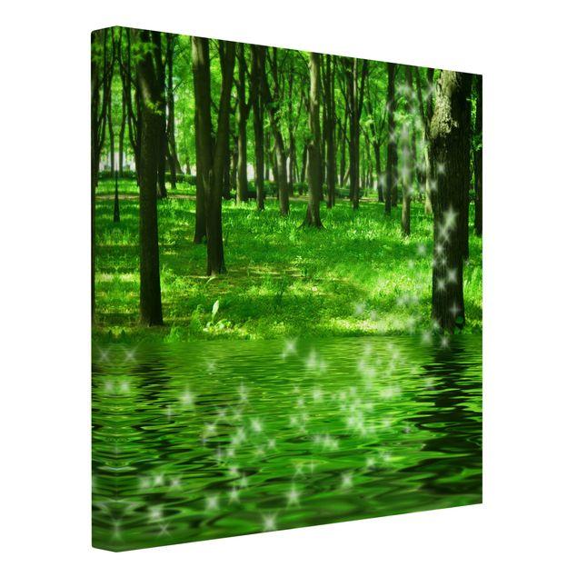 Produktfoto Leinwandbild - Morgenzauber - Quadrat 1:1, Spiegelkantendruck links, Artikelnummer 206604-FL