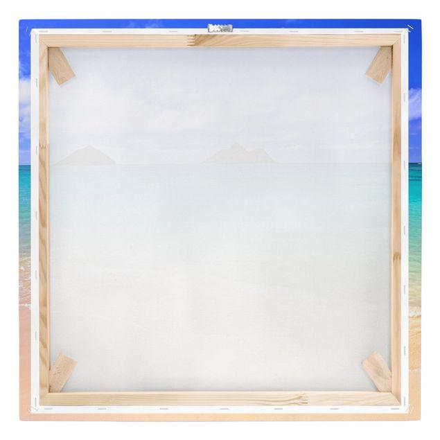 Produktfoto Leinwandbild - Paradise Beach - Quadrat 1:1, Keilrahmen Rückseite, Artikelnummer 206673-FB