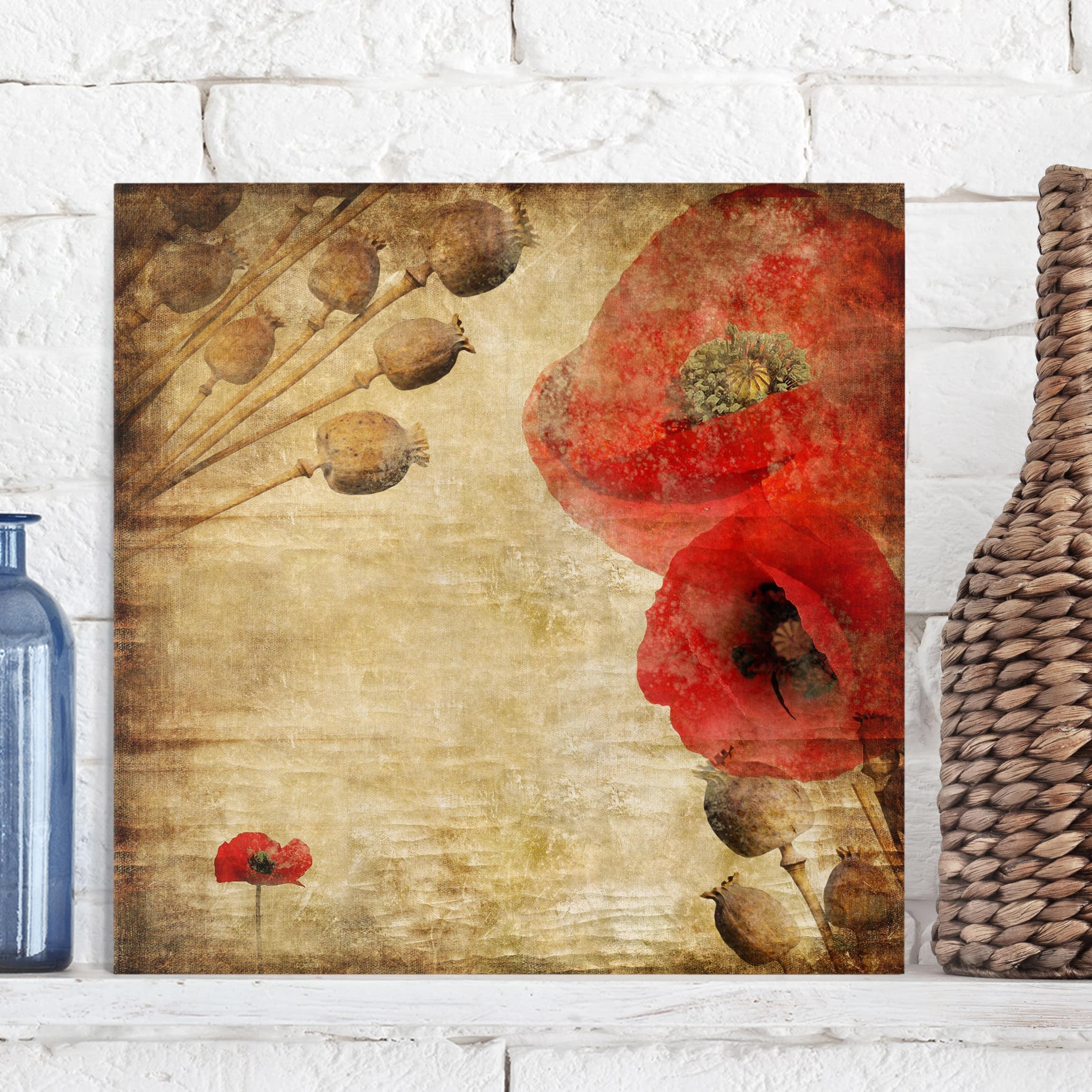 Canvas Art - Poppy Flower - Square Format 1:1
