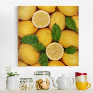 Produktfoto Leinwandbild - Saftige Zitronen - Quadrat 1:1, vergrößerte Ansicht in Wohnambiente, Artikelnummer 206737-XWA