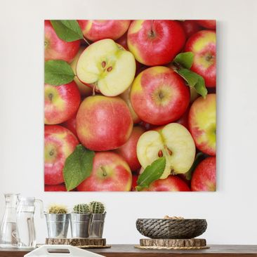 Produktfoto Leinwandbild - Saftige Äpfel - Quadrat 1:1, vergrößerte Ansicht in Wohnambiente, Artikelnummer 206738-XWA