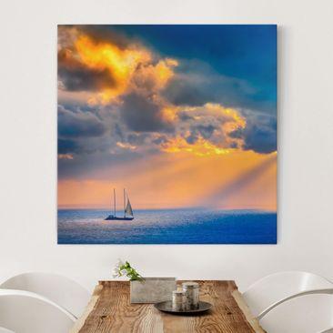 Produktfoto Leinwandbild - Sailing the Horizon - Quadrat 1:1, vergrößerte Ansicht in Wohnambiente, Artikelnummer 206739-XWA