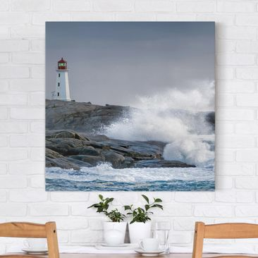 Immagine del prodotto Stampa su tela - Storm Waves At The Lighthouse - Quadrato 1:1