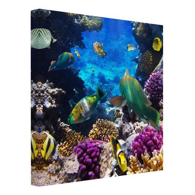 Produktfoto Leinwandbild - Underwater Dreams - Quadrat 1:1, Spiegelkantendruck links, Artikelnummer 206837-FL