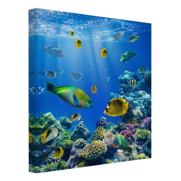 Produktfoto Leinwandbild - Underwater Lights - Quadrat 1:1, Spiegelkantendruck links, Artikelnummer 206838-FL
