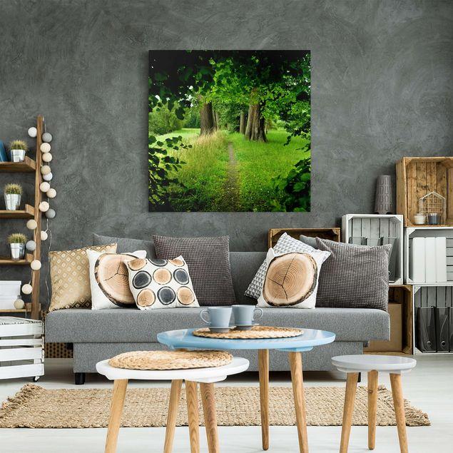 Produktfoto Leinwandbild - Verborgene Lichtung - Quadrat 1:1, in Wohnambiente, Artikelnummer 206842-WA