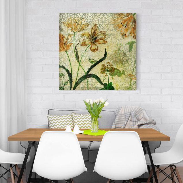 Produktfoto Leinwandbild - Vintage Grasses - Quadrat 1:1, in Wohnambiente, Artikelnummer 206847-WA
