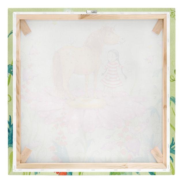Produktfoto Leinwandbild - Das Zauberpony auf der Blüte - Quadrat 1:1, Keilrahmen Rückseite, Artikelnummer 206887-FB