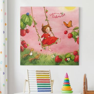 Produktfoto Leinwandbild - Erdbeerinchen Erdbeerfee - Baumschaukel - Quadrat 1:1, vergrößerte Ansicht in Wohnambiente, Artikelnummer 206888-XWA