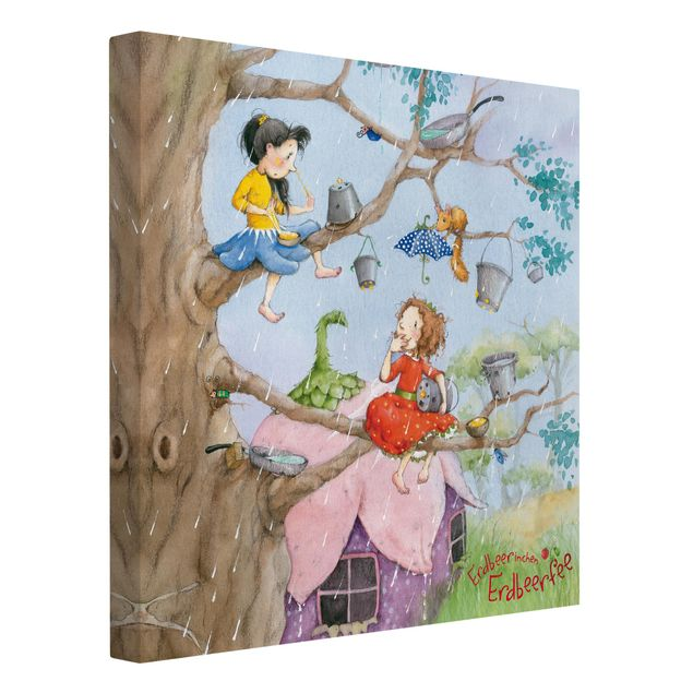 Produktfoto Leinwandbild - Erdbeerinchen Erdbeerfee - Es regnet - Quadrat 1:1, Spiegelkantendruck links, Artikelnummer 206890-FL