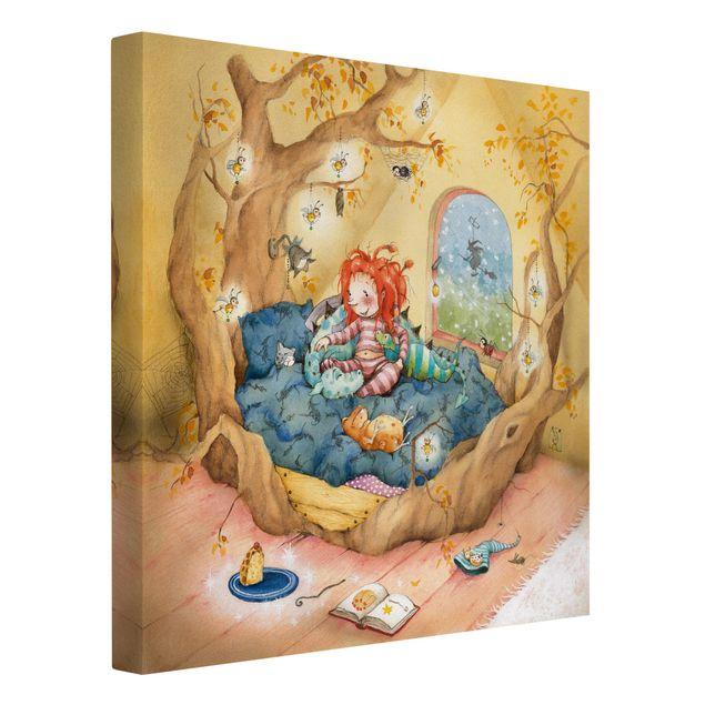 Produktfoto Leinwandbild - Frida kuschelt mit ihren Freunden - Quadrat 1:1, Spiegelkantendruck links, Artikelnummer 206898-FL