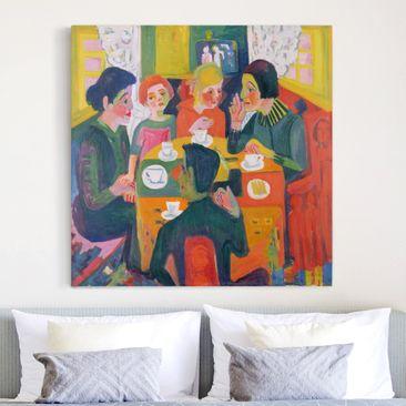 Produktfoto Leinwandbild - Ernst Ludwig Kirchner - Kaffeetisch - Quadrat 1:1, vergrößerte Ansicht in Wohnambiente, Artikelnummer 206928-XWA