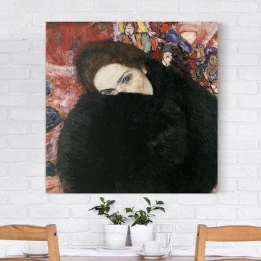 Produktfoto Leinwandbild Gustav Klimt - Kunstdruck Dame mit Muff - Quadrat 1:1 -Jugendstil, vergrößerte Ansicht in Wohnambiente, Artikelnummer 206941-XWA