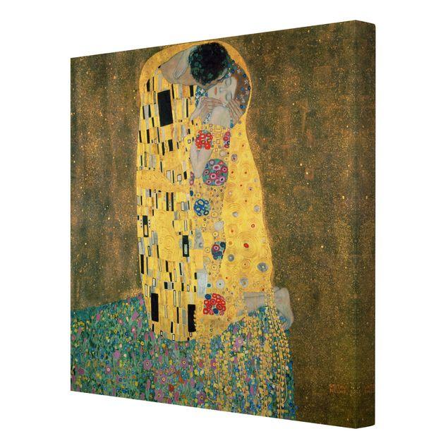 Produktfoto Leinwandbild Gustav Klimt - Kunstdruck Der Kuss - Quadrat 1:1 -Jugendstil, Spiegelkantendruck rechts, Artikelnummer 206942-FR