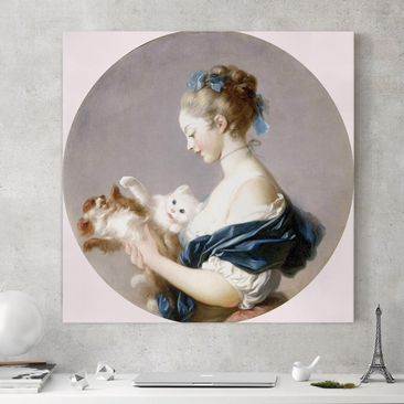 Produktfoto Leinwandbild - Jean Honoré Fragonard - Mädchen mit einem Hund und einer Katze spielend - Quadrat 1:1, vergrößerte Ansicht in Wohnambiente, Artikelnummer 206951-XWA