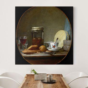 Produktfoto Leinwandbild - Jean-Baptiste Siméon Chardin - Glas mit Aprikosen - Quadrat 1:1, vergrößerte Ansicht in Wohnambiente, Artikelnummer 206953-XWA