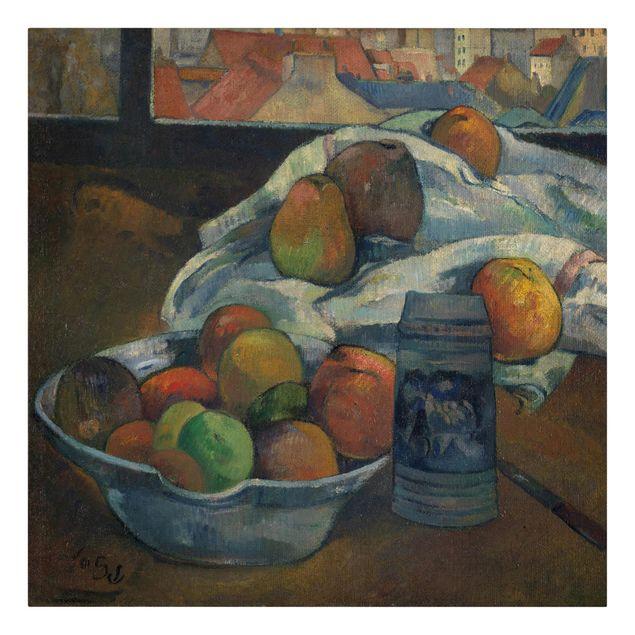 Produktfoto Leinwandbild - Paul Gauguin - Obstschale und Krug vor einem Fenster - Quadrat 1:1, Frontalansicht, Artikelnummer 206964-FF