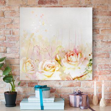 Immagine del prodotto Stampa su tela - Watercolor Flowers Roses - Quadrato 1:1