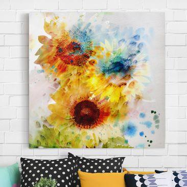 Produktfoto Leinwandbild - Aquarell Blumen Sonnenblumen - Quadrat 1:1, vergrößerte Ansicht in Wohnambiente, Artikelnummer 206995-XWA