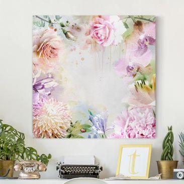 Immagine del prodotto Stampa su tela - Watercolor Blossoms Mix Pastel - Quadrato 1:1