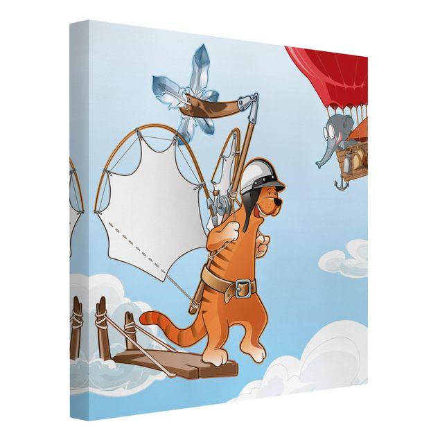 Produktfoto Leinwandbild - Fliegender Bauernhof Katze unterwegs - Quadrat 1:1, Spiegelkantendruck links, Artikelnummer 207019-FL