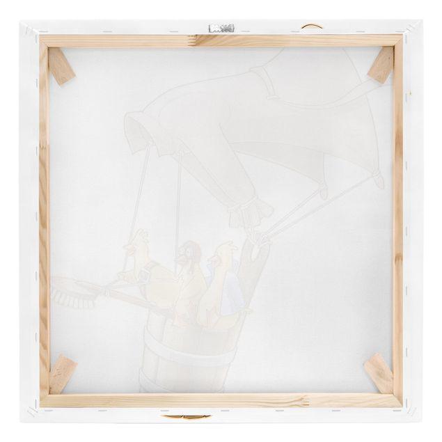Produktfoto Leinwandbild - Fliegender Bauernhof Küken - Quadrat 1:1, Keilrahmen Rückseite, Artikelnummer 207020-FB