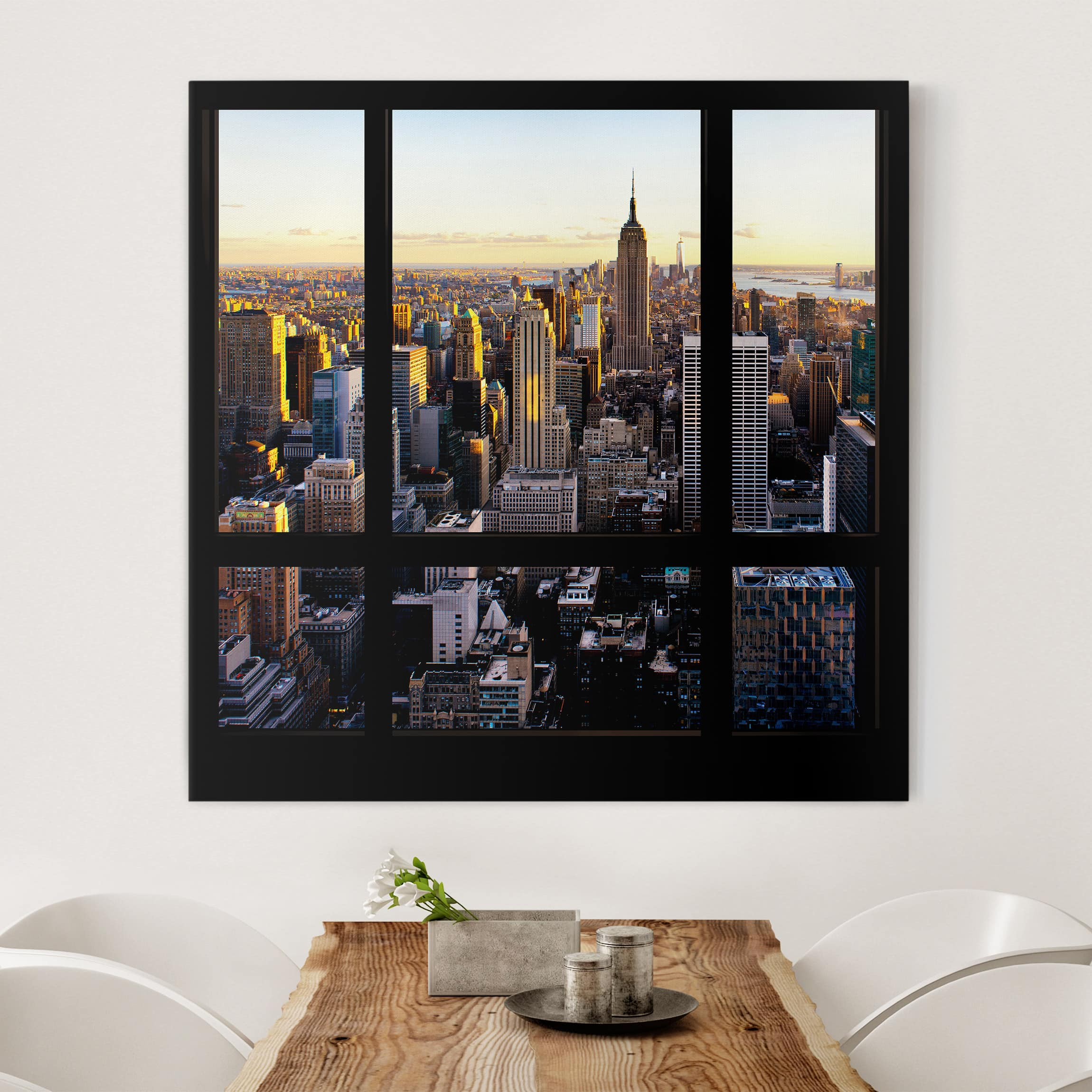 leinwandbild fensterblick am abend ber new york. Black Bedroom Furniture Sets. Home Design Ideas