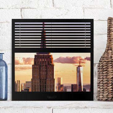 Produktfoto Leinwandbild - Fensterblick Jalousie -...