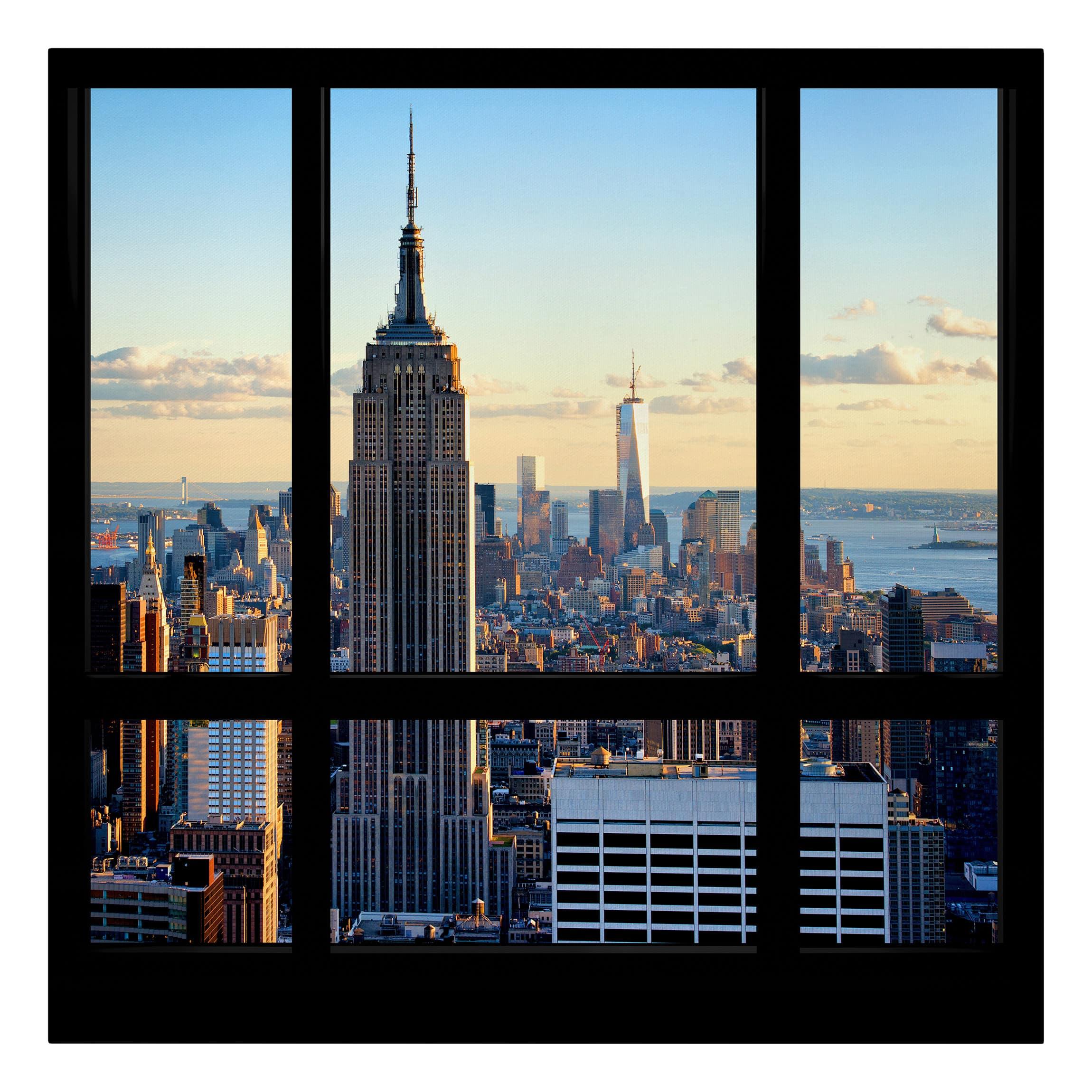 leinwandbild new york fensterblick auf empire state building quadrat 1 1. Black Bedroom Furniture Sets. Home Design Ideas