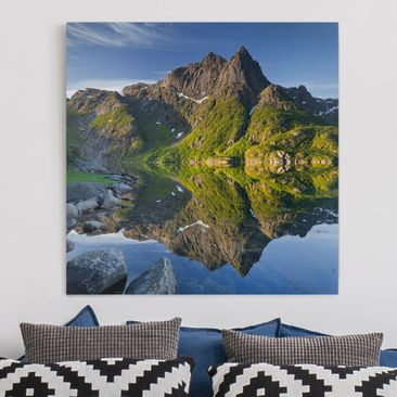 Immagine del prodotto Stampa su tela - Mountain Landscape With Water Reflection In Norway - Quadrato 1:1