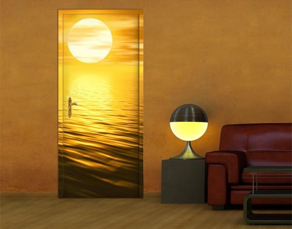 Produktfoto Türtapete Sonnenuntergang - Golden Sunrise- selbstklebend