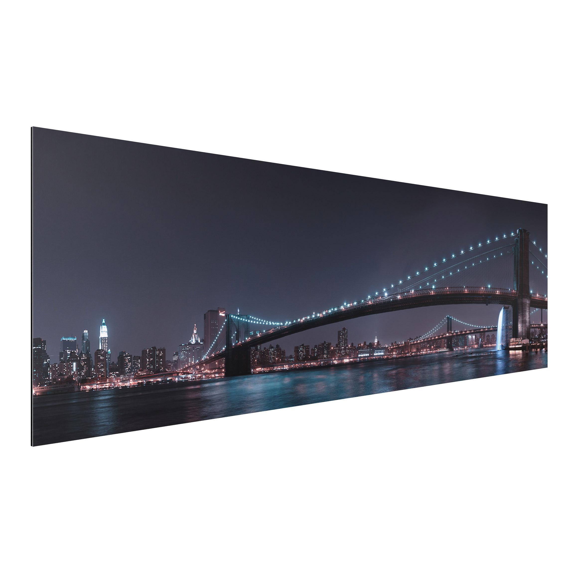 alu dibond bild manhattan skyline und brooklyn bridge panorama quer. Black Bedroom Furniture Sets. Home Design Ideas