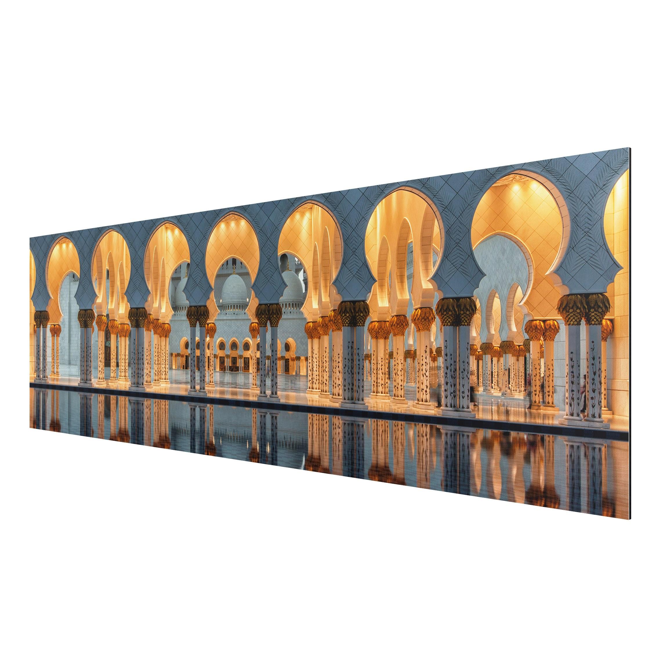alu dibond bild reflexionen in der moschee panorama quer. Black Bedroom Furniture Sets. Home Design Ideas