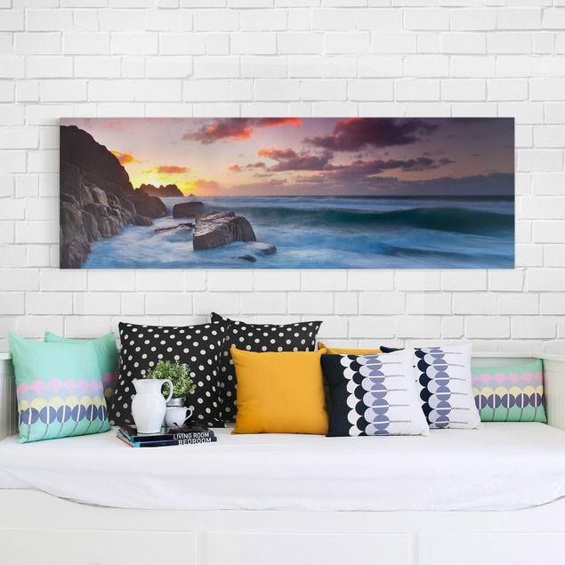 Produktfoto Leinwandbild - Am Meer in Cornwall - Panorama Quer, in Wohnambiente, Artikelnummer 207741-WA