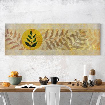 Produktfoto Leinwandbild - Asia Muster - Panorama Quer, vergrößerte Ansicht in Wohnambiente, Artikelnummer 207749-XWA