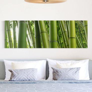 Produktfoto Leinwandbild - Bamboo Trees - Panorama Quer, vergrößerte Ansicht in Wohnambiente, Artikelnummer 207754-XWA