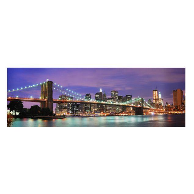 Produktfoto Leinwandbild - Brooklyn Bridge in New York City - Panorama Quer, Frontalansicht, Artikelnummer 207773-FF