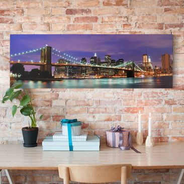 Produktfoto Leinwandbild - Brooklyn Bridge in New York City - Panorama Quer, vergrößerte Ansicht in Wohnambiente, Artikelnummer 207773-XWA