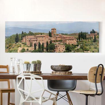 Produktfoto Leinwandbild - Charming Tuscany - Panorama Quer, vergrößerte Ansicht in Wohnambiente, Artikelnummer 207786-XWA