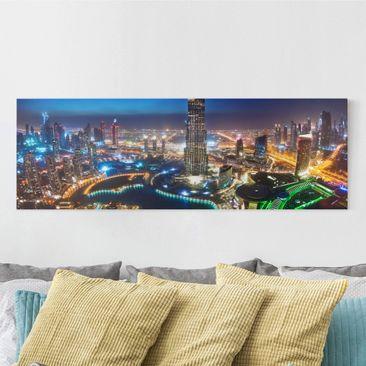 Produktfoto Leinwandbild - Dubai Marina - Panorama Quer, vergrößerte Ansicht in Wohnambiente, Artikelnummer 207823-XWA