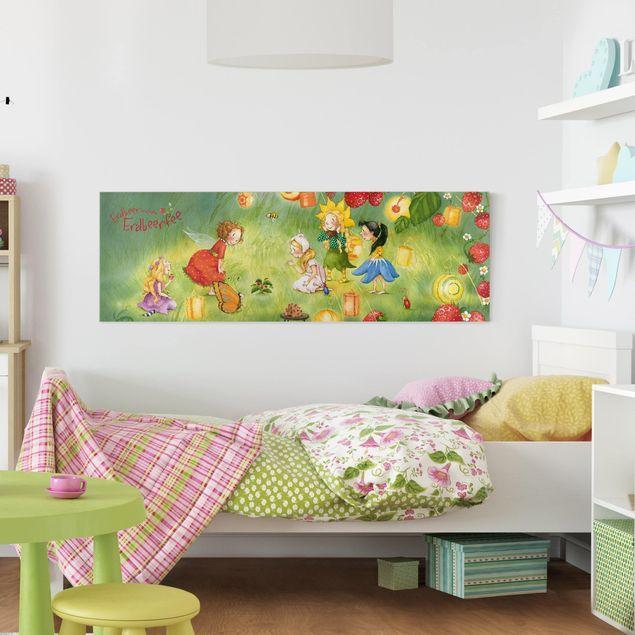 Produktfoto Leinwandbild - Erdbeerinchen Erdbeerfee - Laternen - Panorama Quer, in Wohnambiente, Artikelnummer 207838-WA
