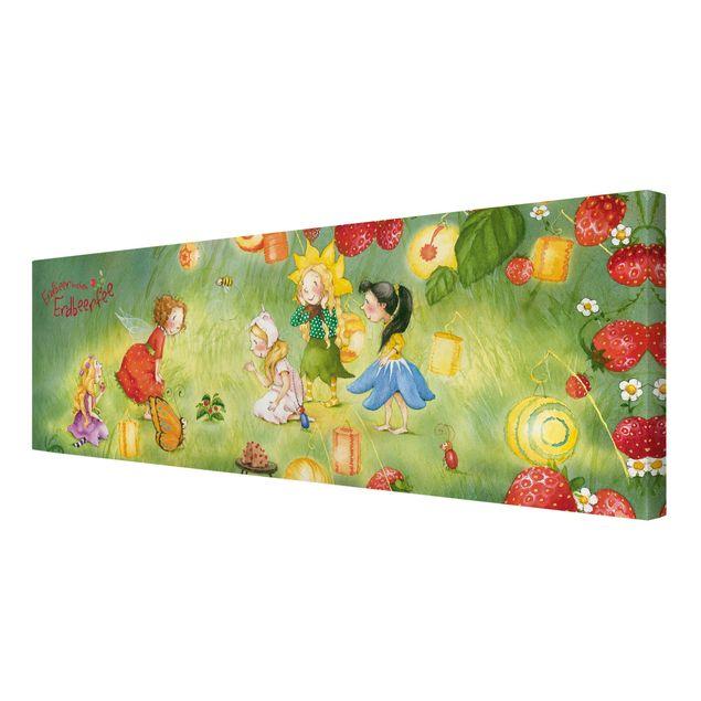 Produktfoto Leinwandbild - Erdbeerinchen Erdbeerfee - Laternen - Panorama Quer, Spiegelkantendruck rechts, Artikelnummer 207838-FR
