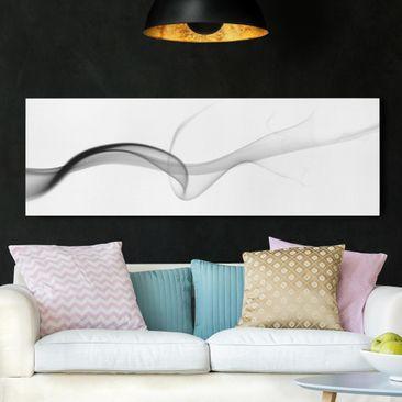 Produktfoto Leinwandbild Schwarz-Weiß - Floater - Panoramabild Quer, vergrößerte Ansicht in Wohnambiente, Artikelnummer 207856-XWA
