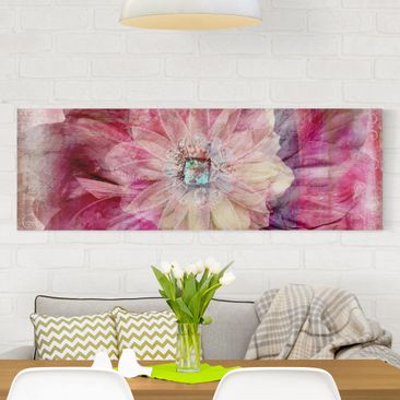Product picture Canvas Art - Grunge Flower - Panoramic