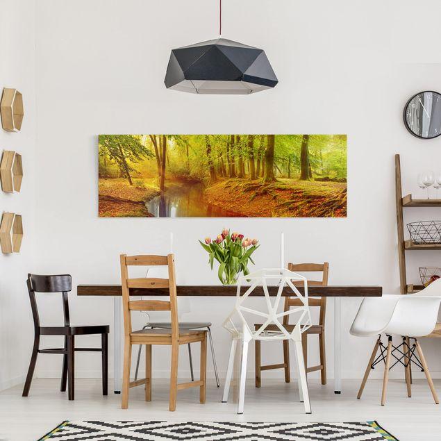 Produktfoto Leinwandbild - Herbstwald - Panorama Quer, in Wohnambiente, Artikelnummer 207901-WA
