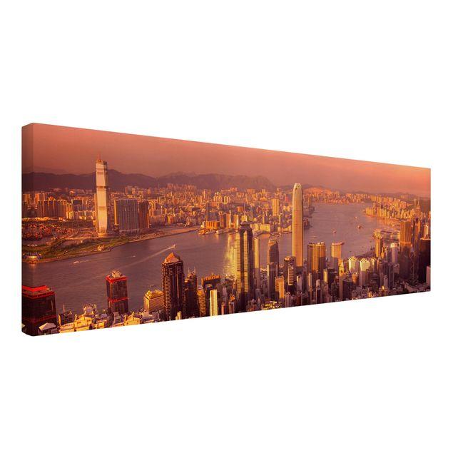 Produktfoto Leinwandbild - Hongkong Sunset - Panorama Quer, Spiegelkantendruck links, Artikelnummer 207906-FL